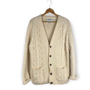Vintage Handmade Irish Wool Cable Knit Cardigan sweater